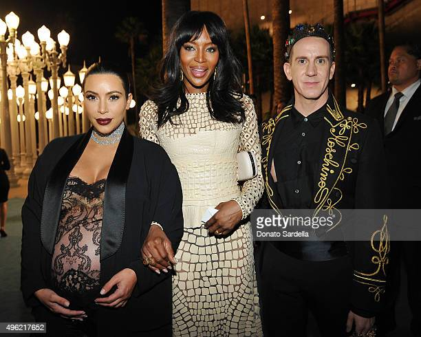 Personality Kim Kardashian West, model Naomi Campbell and Designer Jeremy Scott attend LACMA 2015 Art+Film Gala Honoring James Turrell and Alejandro...