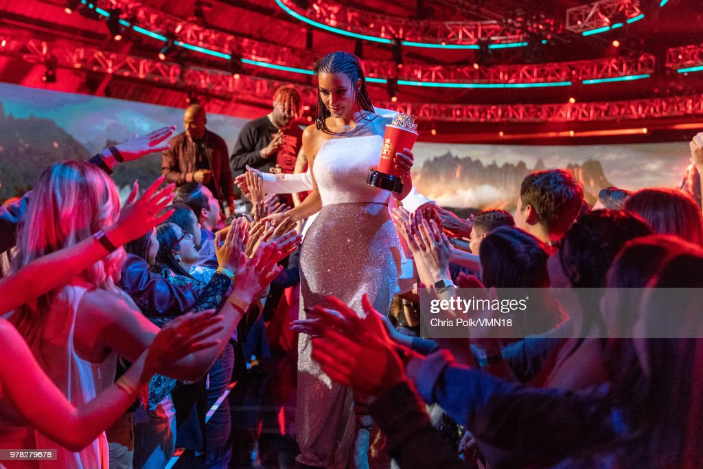 TV personality Kim Kardashian, winner of the Best Reality Series/Franchise award for 'Keeping Up with the Kardashians', walks off stage during the 2018 MTV Movie And TV Awards at Barker Hangar on June 16, 2018 in Santa Monica, California.