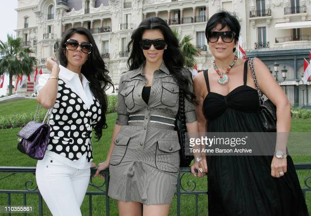 TV personality Kim Kardashian with her mother Kris and sister Kourtney during a shopping trip on June 12 2008 in Monte Carlo Principality of Monaco