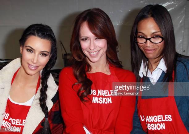 Personality Kim Kardashianan, actresses Jennifer Love Hewitt and Zoe Saldana attend the Los Angeles Mission's 75th anniversary celebration and...
