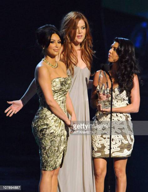 TV personality Kim Kardasian Khloe Kardasia and Kourtney Kardasian speak onstage during the 2011 People's Choice Awards at Nokia Theatre LA Live on...