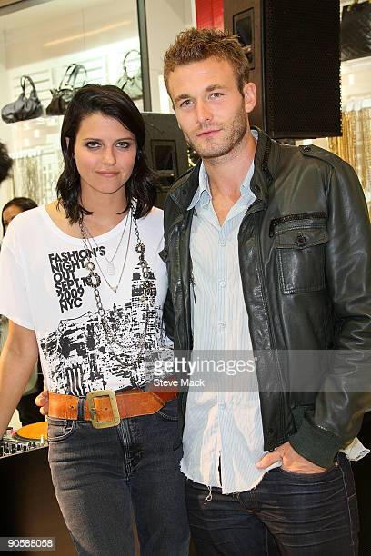 TV personality Kim Stolz and model Brad Kroenig with Ford Models attend the celebration for Fashion's Night Out at ALDO on September 10 2009 in New...