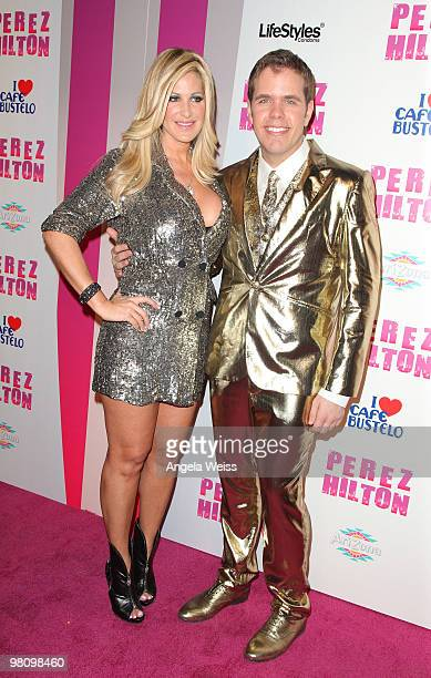 TV personality Kim Zolciak and Perez Hilton attend Perez Hilton's 'CarnEvil' 32nd birthday party at Paramount Studios on March 27 2010 in Los Angeles...