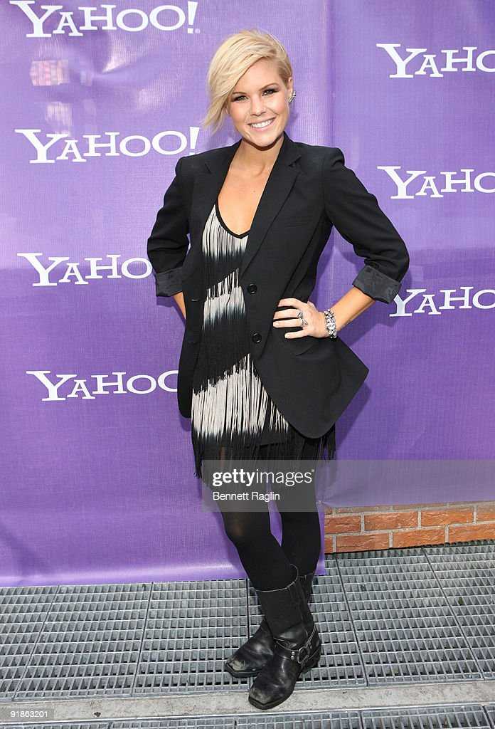 TV personality Kimberly Caldwell attends the It's Y!ou Yahoo! yodel competition at Military Island, Times Square on October 13, 2009 in New York City.