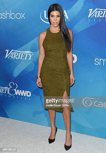 TV personality Kourtney Kardashian arrives at the WWD And Variety Inaugural Stylemakers' Event at Smashbox Studios on November 19 2015 in Culver City...