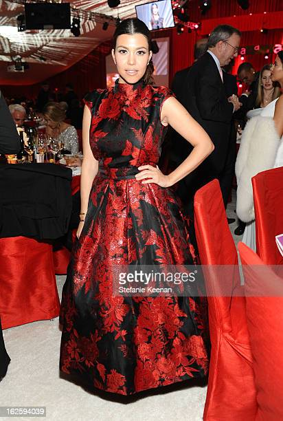 TV personality Kourtney Kardashian attends Chopard at 21st Annual Elton John AIDS Foundation Academy Awards Viewing Party at West Hollywood Park on...