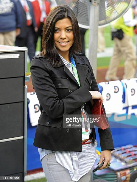 TV Personality Kourtney Kardashian attends Super Bowl XLIII between the Arizona Cardinals and the Pittsburgh Steelers on February 1 2009 at Raymond...