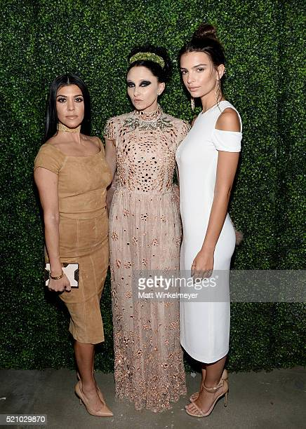 TV personality Kourtney Kardashian CEO Creative Director of alice olivia Stacey Bendet and actress Emily Ratajkowski attend the alice olivia by...