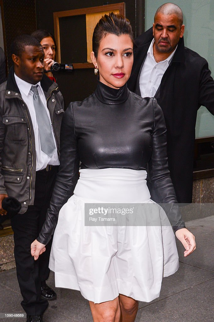 TV personality Kourtney Kardashian leaves the 'Today Show' taping at the NBC Rockefeller Center Studios on January 15, 2013 in New York City.