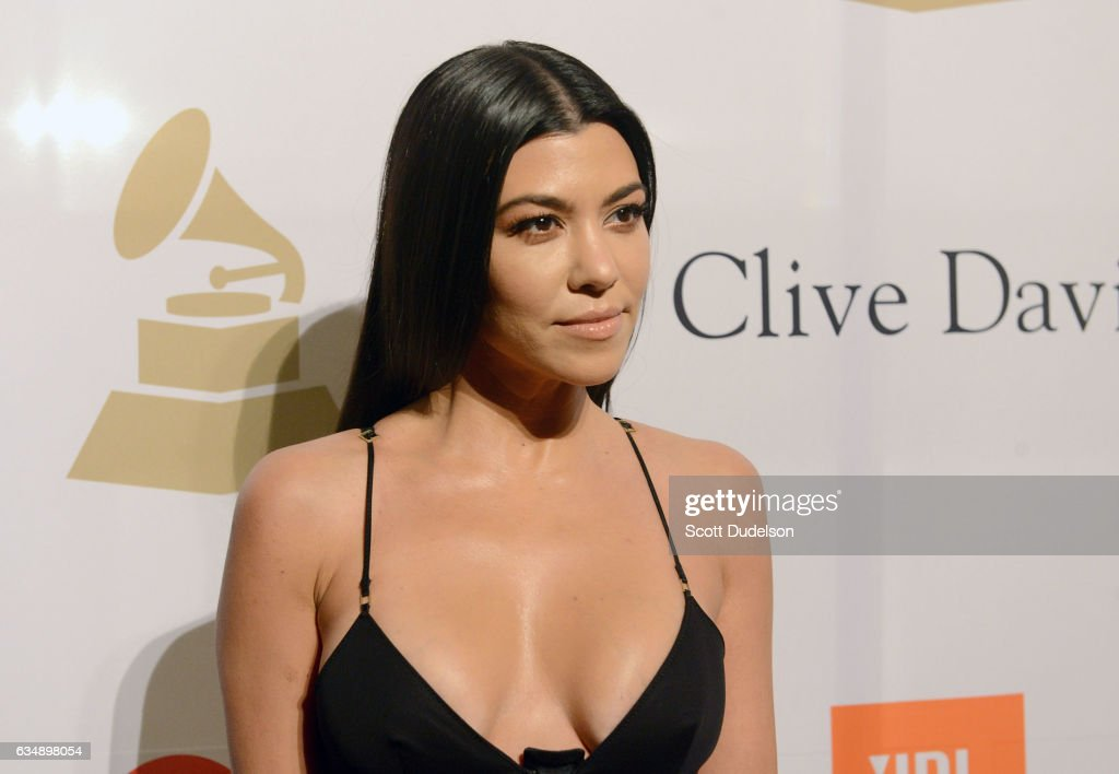 TV personality Kourtney Kardashian poses on the red carpet at the 2017 Pre-GRAMMY Gala And Salute to Industry Icons Honoring Debra Lee at The Beverly Hilton Hotel on February 11, 2017 in Beverly Hills, California.