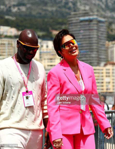 TV personality Kris Jenner and her partner Corey Gamble walk in the Paddock before the F1 Grand Prix of Monaco at Circuit de Monaco on May 26 2019 in...