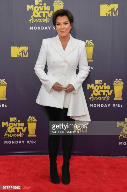 TV personality Kris Jenner attends the 2018 MTV Movie TV awards at the Barker Hangar in Santa Monica on June 16 2018 This year's show is not live It...