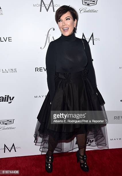 """Personality Kris Jenner attends the Daily Front Row """"Fashion Los Angeles Awards"""" at Sunset Tower Hotel on March 20, 2016 in West Hollywood,..."""