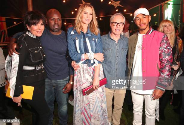 TV personality Kris Jenner Corey Gamble Dee Ocleppo fashion designer Tommy Hilfiger and Formula One racing driver Leiws Hamilton attend the TommyLand...