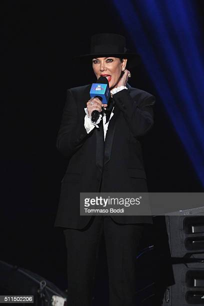 Personality Kris Jenner on stage during the iHeart80s Party 2016 at The Forum on February 20 2016 in Inglewood California