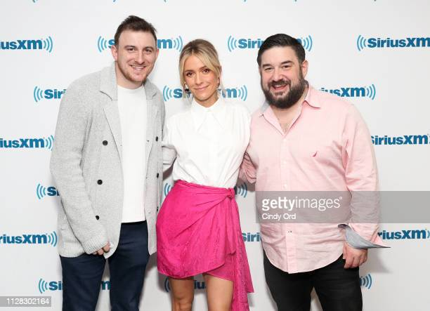 TV personality Kristin Cavallari poses with SiriusXM's 'This is Happening' hosts Mark Zito and Ryan Sampson at the SiriusXM Studios on March 1 2019...