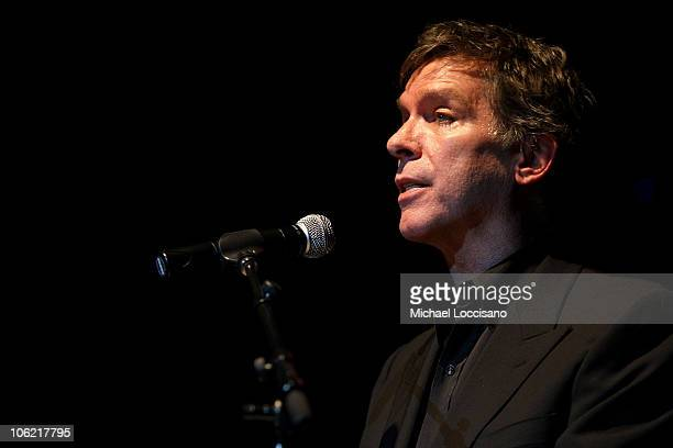 TV personality Kurt Loder adresses the audience during the Marijuana Policy Project's A Night Of Music And Comedy at the Highline Ballroom in New...