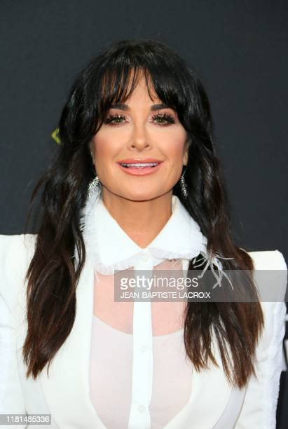 US TV personality Kyle Richards arrives for the 45th annual E People's Choice Awards at Barker Hangar in Santa Monica California on November 10 2019