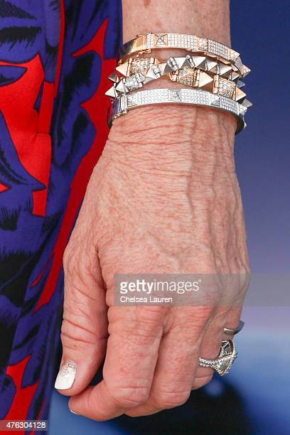 TV personality Kyle Richards bracelet detail attends the opening night of 'Matilda the Musical' at Ahmanson Theatre on June 7 2015 in Los Angeles...