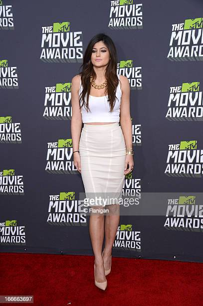 Personality Kylie Jenner arrives at the 2013 MTV Movie Awards at Sony Pictures Studios on April 14 2013 in Culver City California
