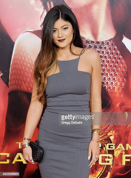 TV personality Kylie Jenner arrives at the Los Angeles premiere of 'The Hunger Games Catching Fire' at Nokia Theatre LA Live on November 18 2013 in...