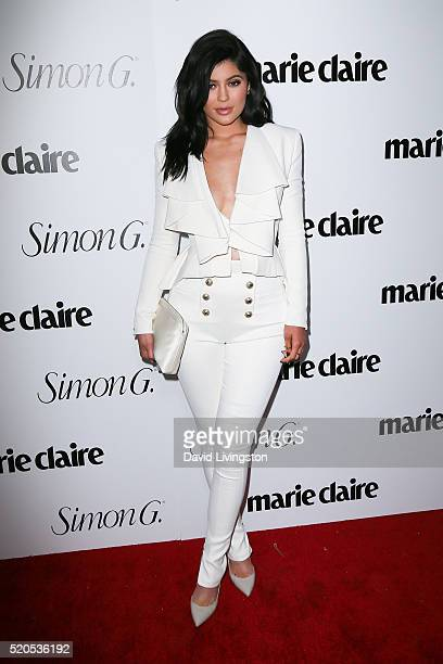 TV personality Kylie Jenner arrives at the Marie Claire Fresh Faces Party at the Sunset Tower Hotel on April 11 2016 in West Hollywood California