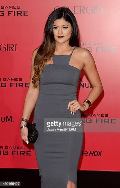 TV personality Kylie Jenner arrives at the premiere of Lionsgate's 'The Hunger Games Catching Fire' at Nokia Theatre LA Live on November 18 2013 in...