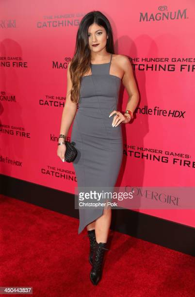 TV personality Kylie Jenner attends premiere of Lionsgate's The Hunger Games Catching Fire Red Carpet at Nokia Theatre LA Live on November 18 2013 in...