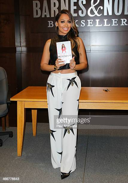 Personality La La Anthony signs copies of her new book 'The Love Playbook' at Barnes Noble bookstore at The Grove on February 3 2014 in Los Angeles...