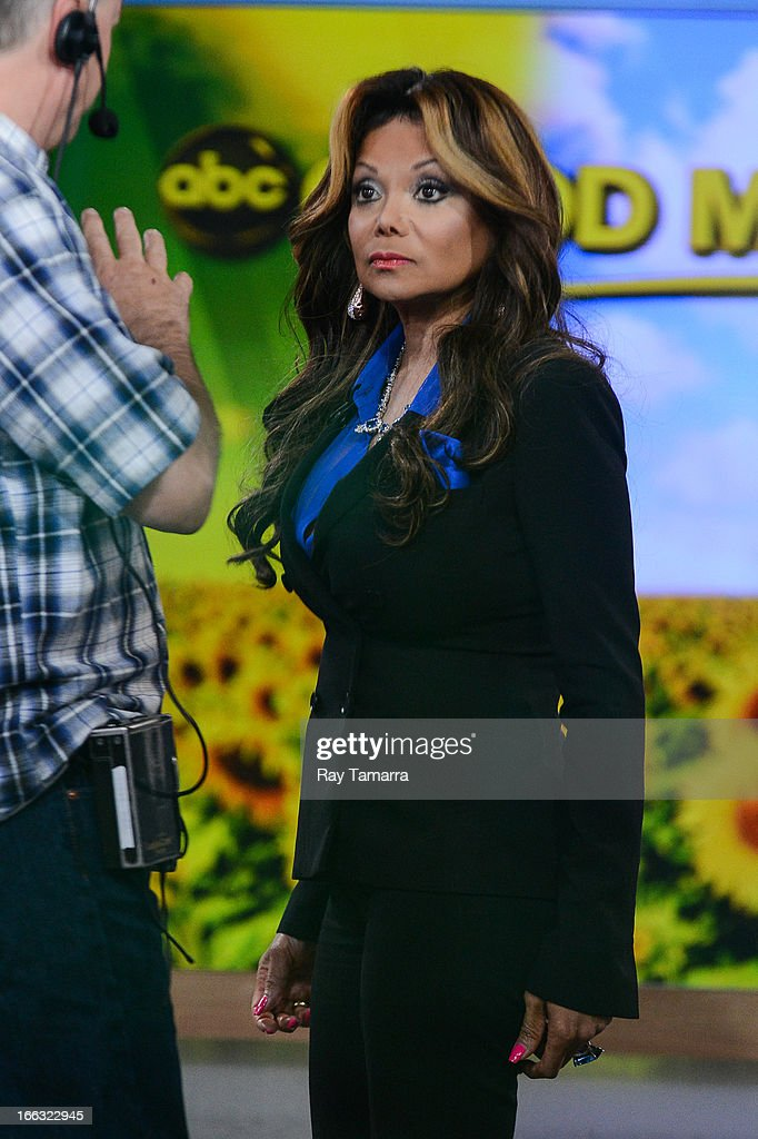 TV personality La Toya Jackson tapes an interview at 'Good Morning America' at the ABC Times Square Studio on April 11, 2013 in New York City.