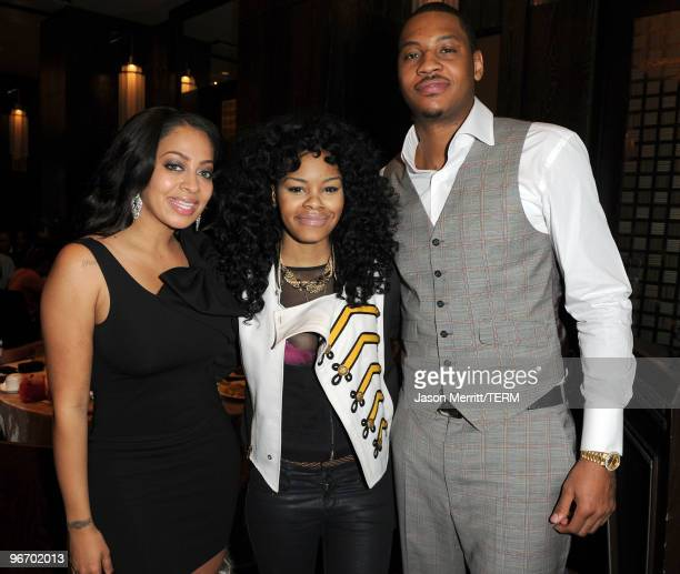 TV personality LaLa Vasquez Teyana Taylor and NBA player Carmelo Anthony attend the Carmelo Anthony Foundation AllStar brunch held at Hotel Joule on...