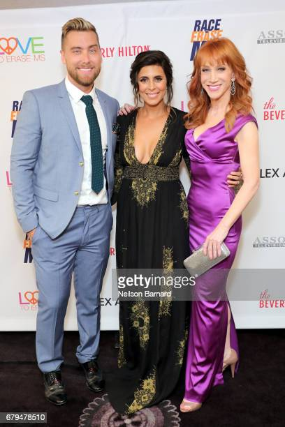 TV personality Lance Bass Actor JamieLynn Sigler and Comedian Kathy Griffin attend the 24th Annual Race To Erase MS Gala at The Beverly Hilton Hotel...