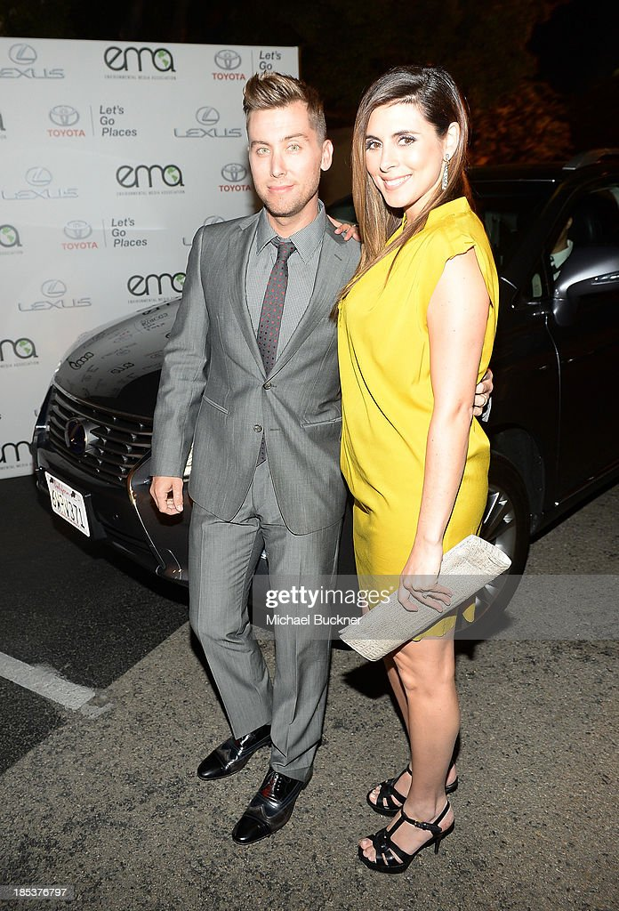 TV Personality Lance Bass and actress Jamie Lynn Sigler arrive at the 23rd Annual Environmental Media Awards presented by Toyota and Lexus at Warner Bros. Studios on October 19, 2013 in Burbank, California.