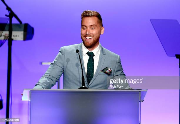 TV personality Lance Bass speaks during the 24th Annual Race To Erase MS Gala at The Beverly Hilton Hotel on May 5 2017 in Beverly Hills California