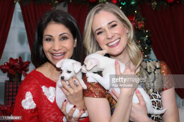 Personality Larissa Wohl and Actress Brittany Bristow on the set of Hallmark's Home Family at Universal Studios Hollywood on February 13 2019 in...