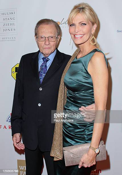 Personality Larry King and his wife Shawn King arrive at the 11th annual Harold Pump Foundation Gala at the Hyatt Regency Century Plaza on August 3,...