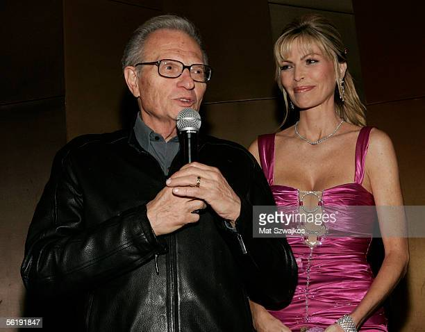 TV personality Larry King and his wife singer Shawn King address their guests at the listening party for Shawn King's new CD 'In My Own Backyard'...