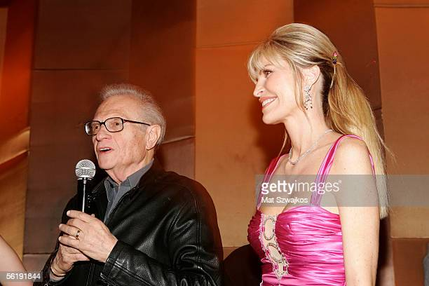 TV personality Larry King and his wife singer Shawn King say good night to their guests at the listening party for Shawn King's new CD 'In My Own...