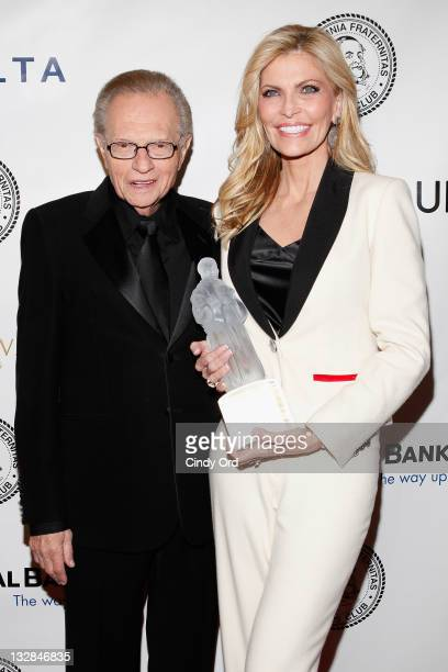TV personality Larry King attends with his wife Shawn King as he is honored at the 2011 Friars Club Testimonial dinner gala at the Sheraton New York...