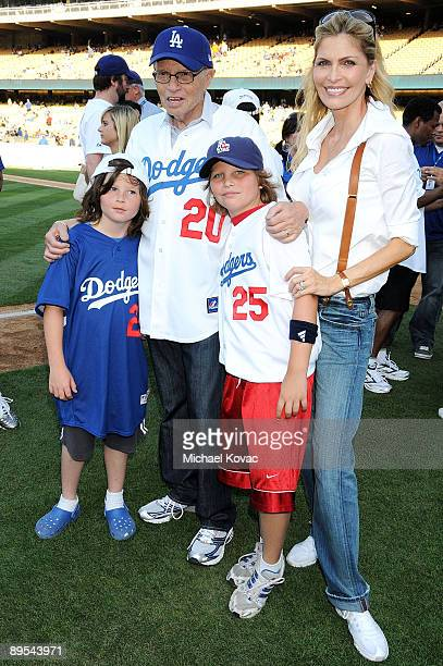 Personality Larry King his wife Shawn SouthwickKing and sons Cannon Edward King and Chance Armstrong King attend the LA Dodgers 51st Annual Hollywood...
