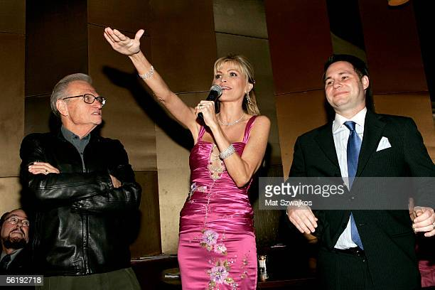 TV personality Larry King his wife singer Shawn King and CEO of Gotham Magazine Jason Binn address guests at the listening party for Shawn King's new...