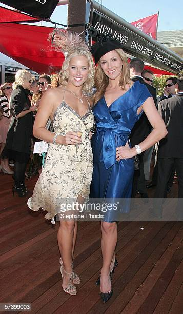 TV personality Laura Csortan and model Ali Mutch pose at Schweppes Sydney Cup Day during the Sydney Easter Carnival at the Royal Randwick Racecourse...