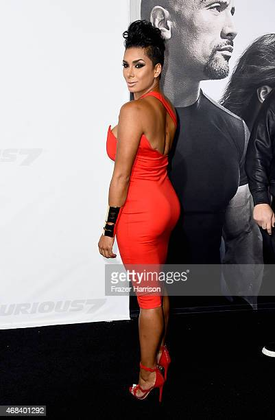 TV personality Laura Govan attends Universal Pictures' Furious 7 premiere at TCL Chinese Theatre on April 1 2015 in Hollywood California