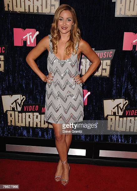 Personality Lauren Conrad arrives at the 2007 Video Music Awards at the Palms Casino Resort on August 9, 2007 in Las Vegas, Nevada.