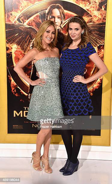 Personality Laurie Feltheimer and actress Carly Steel arrive at the premiere Of Lionsgate's The Hunger Games Mockingjay Part 1 at Nokia Theatre LA...