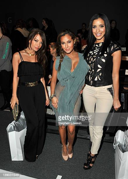 TV personality Layla Kayleigh actress Adrienne Bailon and actress Julissa Bermudez attend the Whitney Eve Fall 2012 fashion show during MercedesBenz...