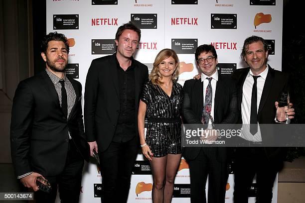 TV personality Lisa Bloom poses with award winners Joe Beshenkovsky Stevan Riley Peter Ettedgui and Brett Morgen at the 2015 IDA Awards at Paramount...