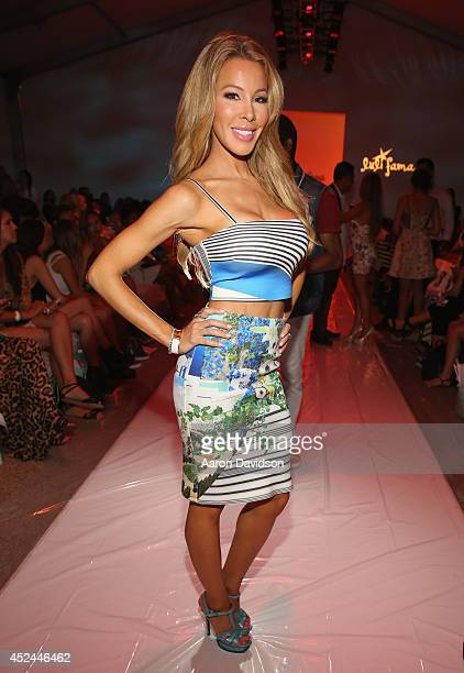 Personality Lisa Hochstein attends Luli Fama fashion show during MercedesBenz Fashion Week Swim 2015 at Cabana Grande at The Raleigh on July 20 2014...