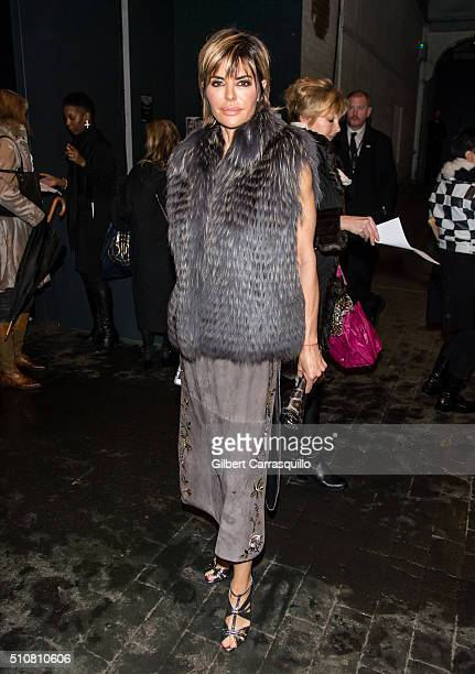 TV personality Lisa Rinna is seen outside the Dennis Basso Fall 2016 fashion show during New York Fashion Week The Shows at The Arc Skylight at...
