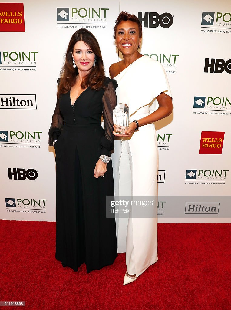 TV personality Lisa Vanderpump and Robin Roberts attend Point Foundation's Point Honors gala at The Beverly Hilton Hotel on October 1, 2016 in Beverly Hills, California.